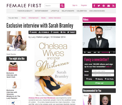 """Exclusive interview with Sarah Bramley"" on femalefirst.co.uk"
